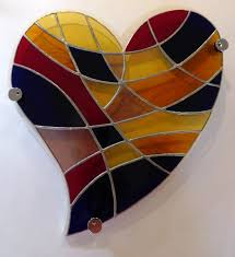 vitreus art stained glass wall art in a heart design