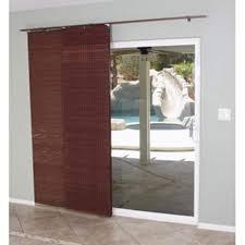 brown sliding door track shades