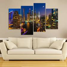 >wall art ideas design large city famous building 4 piece wall art  wall art ideas design large city famous building 4 piece wall art canvas modern pintura living room rectangle spray painting best 4 piece wall art canvas