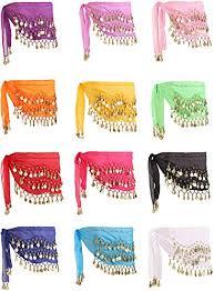 Zhanmai <b>12</b> Pieces <b>Belly</b> Dance Skirt Hip Skirt <b>12 Colors</b> Waist ...