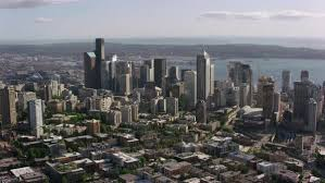 Seattle Cityscape Aerial Shot Of Modern Seattle Cityscape Elliott Bay In Background Washington United States Of America Shot In 2017 Stock Footage