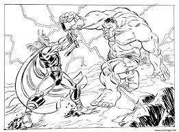 Coloriage Avengers Thor Vs Hulk Dessin