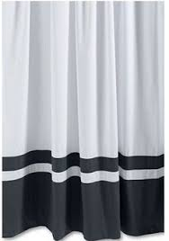 white and black shower curtain. White Curtain With Black Bottom Stripes And Shower