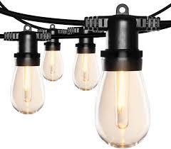 Black Outdoor String Lights Sunthin 96ft Led Outdoor String Lights S14 Black Hanging Loops With 32 Sockets And 33 Shatterproof Led Bulbs Included 1 Spare Plastic Bulbs 2700k Etl