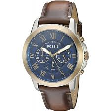 fossil men s fs5150 grant chronograph dark brown leather watch
