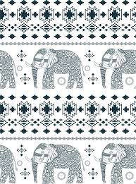 Elephant Pattern Delectable Elephant Pattern Design With Black And White Ornamentation Free