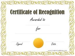 Certificate Recognition Certificates Templates Free