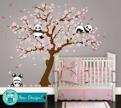 panda and cherry blossom tree wall decal panda wall decal blossom tree for baby nursery kids or childrens room 094 on tree wall art baby nursery with cherry blossom panda wall decal botanical panda wall sticker set