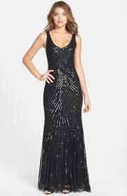 Sequin V Back Mesh Gown