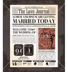 Wedding Invitation Newspaper Template Vintage Newspaper Wedding Invitation Template Vector 2179240