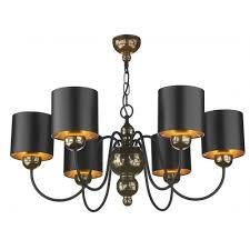 garbo 6light bronze ceiling pendant black shades