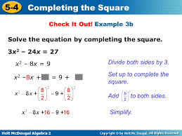 example 3b solve the equation by completing the square 3x2
