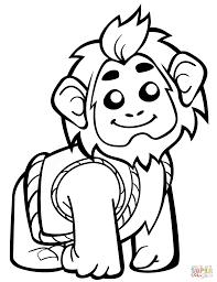 Disegno Di Scimmia Carina Con Giubbotto Da Colorare Disegni Da
