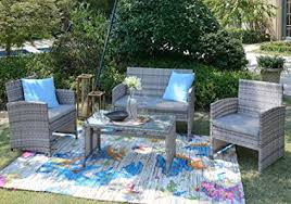 wicker patio furniture sets. Homewell 4pc Wicker Patio Furniture Set Cushioned Loveseat, Chairs \u0026 Table  For Dining Lounge ( Wicker Patio Furniture Sets I