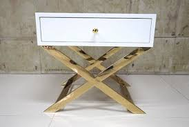 gold bedside table. Beautiful Table White Painted Gold Hotel Bedside Tables With Polished Metal Base  60 Sheen Table R