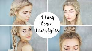 Quick Hairstyles For Braids 4 Cute Braid Hairstyles Quick Easy Youtube