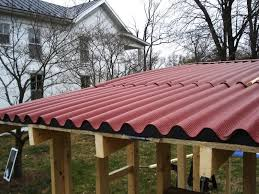 image of red corrugated fiberglass roofing panels