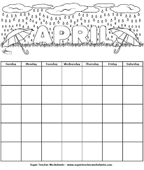 Calendar To Fill In Students Can Color This April Calendar And Fill In The Dates