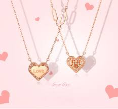 <b>SA SILVERAGE</b> 2019 Chain Letter Love Necklaces Real <b>Rose</b> Gold ...