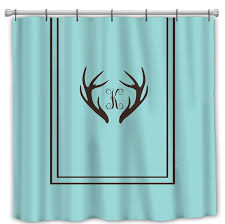 custom personalized deer antler simplicity shower curtain simple classic border standard or exlong