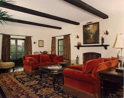 Living Room, Living Room In Spanish With Red Sofa And Carpet With Wooden  Table And