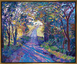 oil painting of beautiful tree lined pathway with sunlight seeping through by erin hanson framed