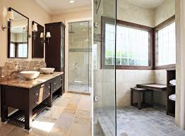Marble Flooring Tile In Modern Small Bathroom Also Brown Cabinet ...