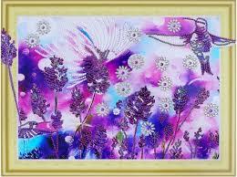 """Алмазная <b>картина</b> с фигурными стразами """"Лавандовые колибри ..."""