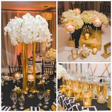 Art Deco Wedding Centerpieces Real Wedding Art Deco White Black And Gold Wedding At Los