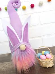 Purple Easter Bunny Gnome Adorable Rainbow Colored Beard And