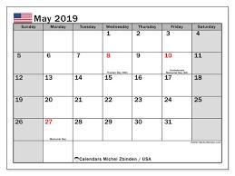 Calendar May 2019 Usa Michel Zbinden