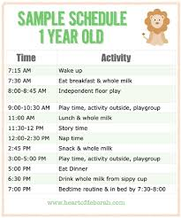 Daily Routine Chart For 2 Year Old Sample Baby Schedule For One Year Old Baby Schedule