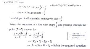 find the equation of the line passing through the point 2 5 and parallel to line 2x 3y 7