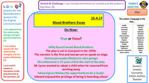 blood brothers exam style essay question practice by  blood brothers essay exam practice pptx