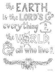 Bible Verse Coloring Page Psalm 241 Printable Bible Coloring