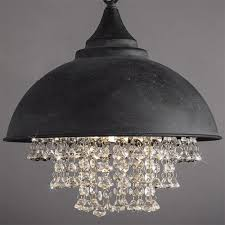 black crystal lighting. BAYCHEER Vintage Style Iron Shaded Glittering Large Crystal Lighting Beads Hanging Pendant Light Chandelier Use E26 Black H