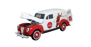 ford van red. coca-cola 1940 holiday ford panel van 1:24 motorcity classics red