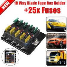 qoo10 12v 32v car 10 way blade fuse connector box holder led 12v 32v car 10 way blade fuse connector box holder led warning light kit