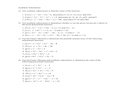 Using Synthetic Substitution and The Factor Theorem to determine ...Using Synthetic Substitution and The Factor Theorem to determine Factors of Polynomials 10th - 12th Grade Worksheet | Lesson Planet