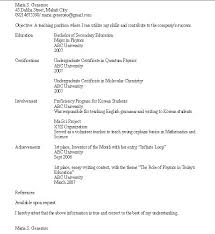 Example Resume Student Example Of A Resume For A Highschool Student 45
