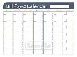 Free Printable Monthly Bill Pay Chart Calendar Template