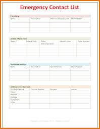 7 Contact Template Itinerary Template Sample