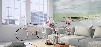 wall murals for living room. Living Room With Watercolor Mural Wall Murals For