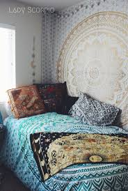Bohemian Bedroom Hippie Trippy Turquoise Green Blue Ombre Mandala Tapestry