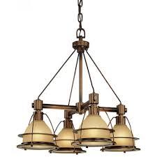 4 light led pendant chandelier sunset bronze finish with light amber glass