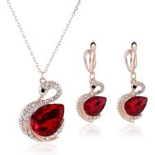 2019 ruby necklace set hot sparkle swarovski crystal element swan shaped wedding jewelry set fashion womens earrings set new arrival from