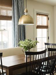 Dining Room Decor Ideas   Tranquil, Comfortable, Modern Country Living With  Bronze School House Light Fixture And Blue And White Patterned Curtains.