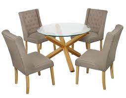 grange round clear glass oak dining table 8