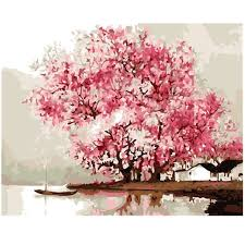 sakura cherry tree oil painting by number 40x50cm picture on wall acrylic diy drawing by numbers