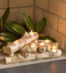 logs hearth candle holder birch